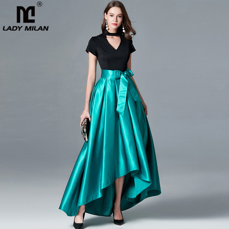 Lady Milan Womens Sexy V Neck Short Sleeves Keyhole Pacthwork Sash Belt Party Prom Fashion Hi Low Designer Runway Dresses