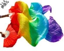 2016 Hot sale women 100% real silk belly dance fan veils of belly dance fans rainbow color 180*90cm