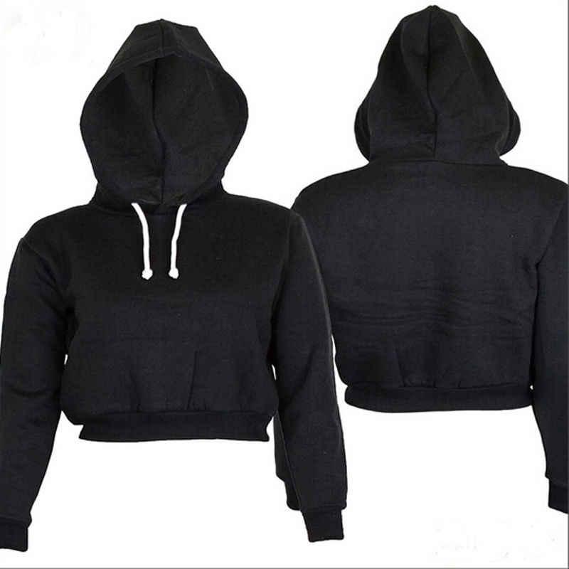 2020 Herfst Womens Solid Crop Hoodie Lange Mouwen Jumper Hooded Trui Jas Toevallige Sweater Top Sudaderas Mujer