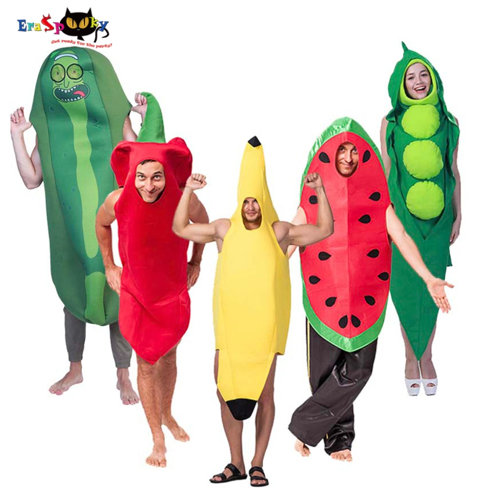 Eraspooky Funny Jumpsuit Halloween Costume for Adult Fruit Cosplay One piece Carnival Party Group Family Costumes Banana Chili