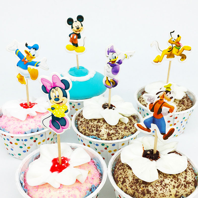 Admirable 24Pcs 48Pcs Minnie Mickey Mouse Donald Daisy Duck Cupcake Topper Personalised Birthday Cards Paralily Jamesorg