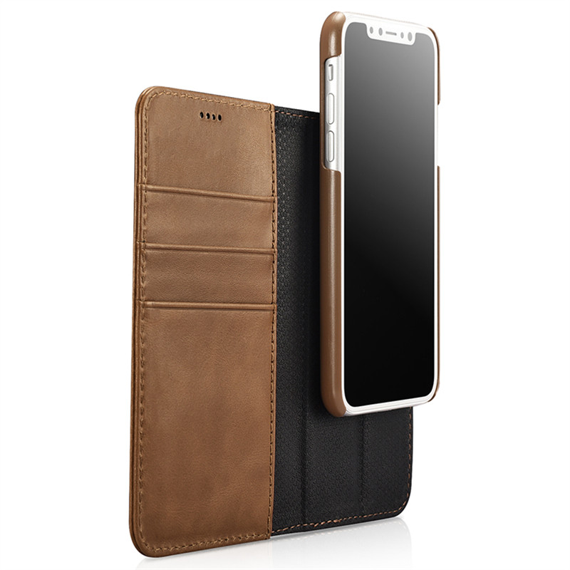 pretty nice eddeb a25e1 US $32.2 |ICARER Genuine Leather Detachable 2 in 1 Wallet Folio Case for  IPhone X Magnetic Strap Flip Cover-in Wallet Cases from Cellphones & ...