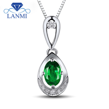 Natural Gemstone Pendant Fine Jewelry Oval 4x6mm Good Quality Emerald Diamond In 18K White Gold WP054
