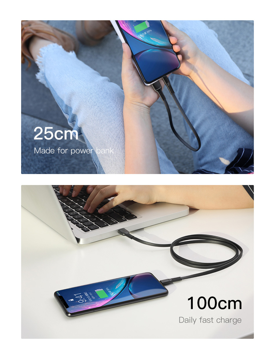 Baseus Mini Flat USB Cable For iPhone iPad And Other Mobile Phones With Fast Charger 15