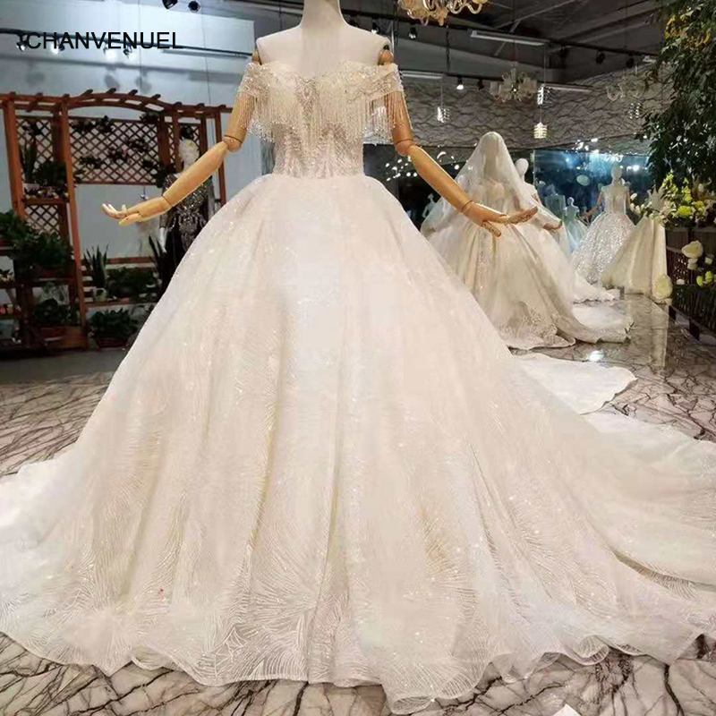 LSS213 Crystal Wedding Dresses With Detachable Train Off