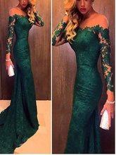 Elegant Off the Shoulder Long Sleeves Mermaid Evening Dress 2019 Dark Green Evening Gowns Prom Party Dresses vestidos de noiva цена
