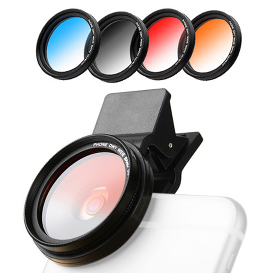 ZOMEI 4 In 1 37MM Mobile Phone Camera Filters Lens Graduated Grey Blue Orange Red Filters For IPhone 7S 6S Samsung Smartphone