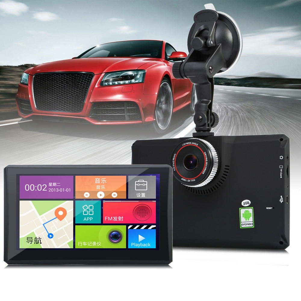 902 7 Inch Android 4.4 Car Tablet GPS 170 Degree Wide Angle 1080P DVR Recorder WiFi / 3G FM Transmitter Support Google Maps 5 inch android dash cam 4 4 car tablet gps 170 degree wide angle 1080p dvr recorder wifi 3g fm transmitter wifi touch screen