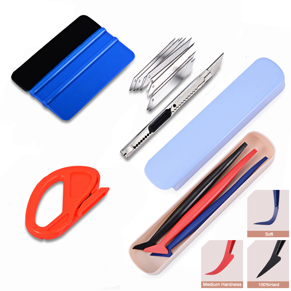 FOSHIO Carbon Fiber Vinyl Car Wrap Tools Window Tint Film Squeegee Wrap Knife Set Vehicle Sticker Glue Remover Styling Scraper