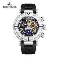 Риф Тигр/RT 2019 новый дизайн Для мужчин большие спортивные часы каучуковый ремешок Скелет часы Водонепроницаемый Нержавеющаясталь reloj hombre