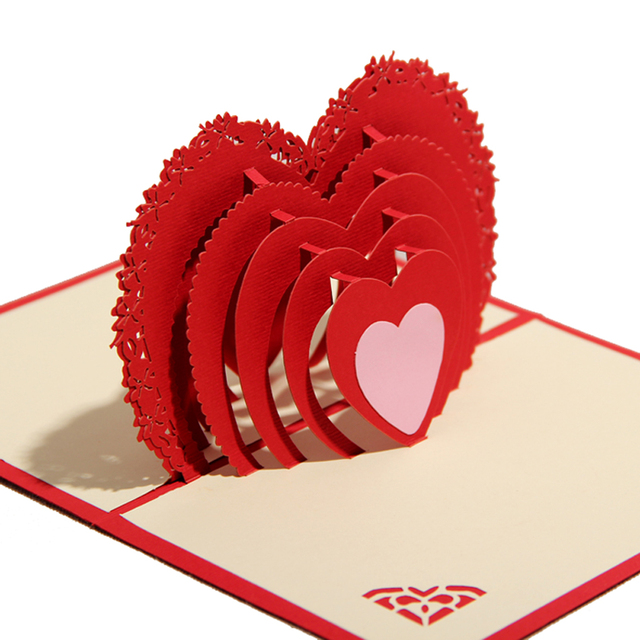 Valentine\u0027s day CARDS Paper cut engraving 3 d card Business card