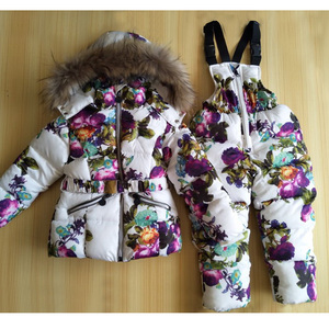 Image 4 - 1   2Y Baby Girl Winter Clothing Set for Girls Flowers Down Coat +Overalls Suits Warm Windproof Snowsuit Toddler Ski Suit