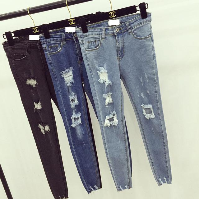 2016 das mulheres coreanas novas calças outono desgastado personalidade agarra o grain magro jeans casual calças de brim