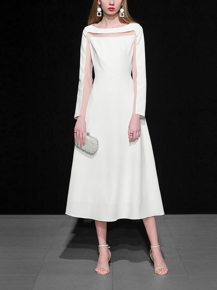18 Fashion Autumn Ladies Solid Mid-calf A-Line Dress O-Neck Long Sleeve Persperctive Dress Women High Waist A-Line Dress C1818 4