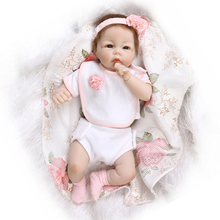 Newborn Silicone Reborn Dolls Baby Girls Lifelike Vinyl Girls Babies Birthday Gift Present for Child Early Education Bedtime Toy