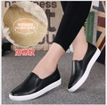 Women Genuine Leather White Shoes Autumn Winter casual Thick Soled Shoes lazy Woman Leather Shoes Woman Flat Loafers