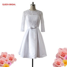 Custom Made A-line vestidos de noiva White/Ivory Short Lace Wedding Dresses Bridal Gowns Real Sample Tulle Lace Knee Length WS26(China)