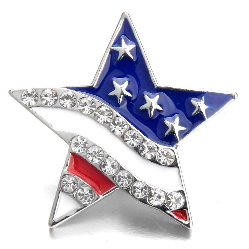 10pcs/lot New Snap Jewelry Rhinestone American flag 18MM Snap Buttons Vintage Alloy Snap fit Snap Bracelet