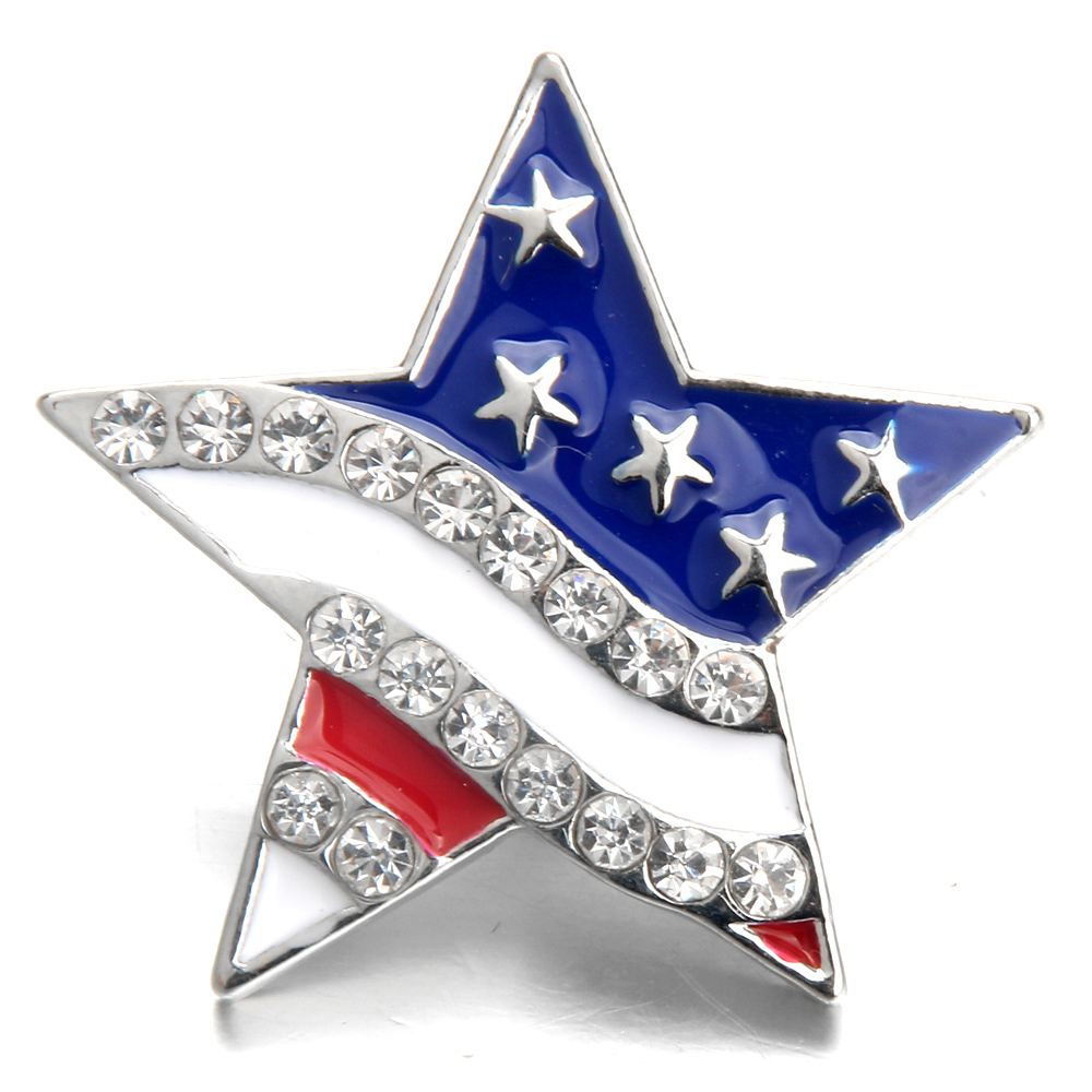 5pcs/lot New Snap Jewelry Rhinestone American Flag 18MM Snap Buttons Vintage Alloy Snap Fit Snap Bracelet