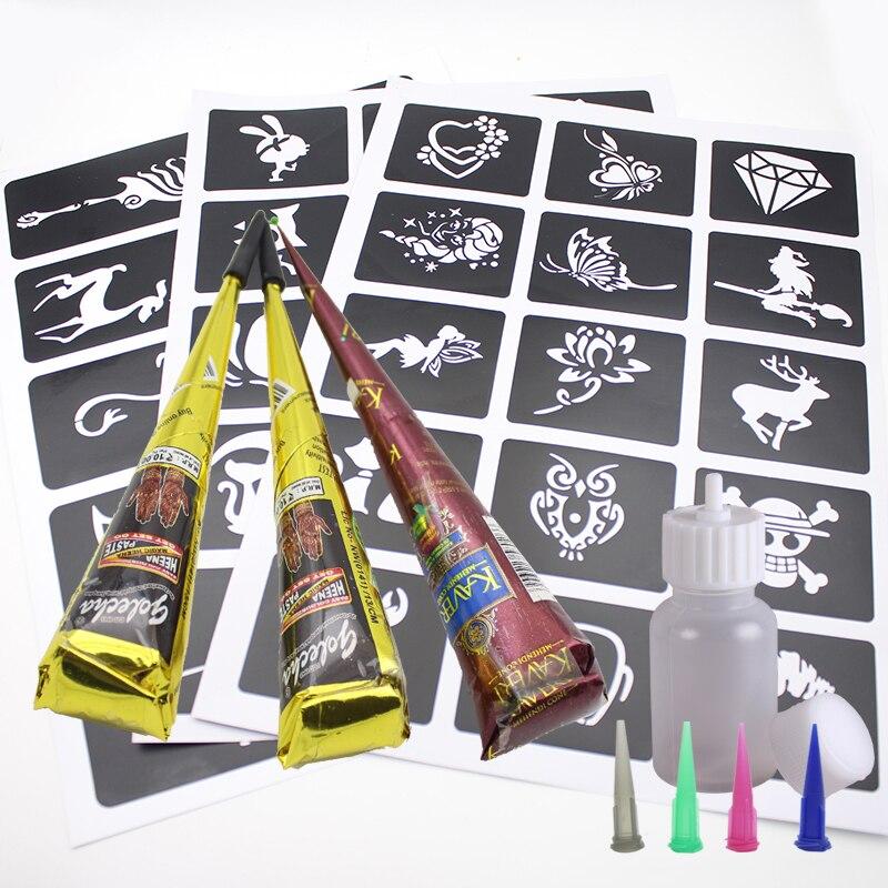 40 Pieces Tattoo Stencils+3pcs Brown Black Indian Henna Tattoo Paste,Henna Tattoo Paste Cream Templates Tatoo Design Body Paint