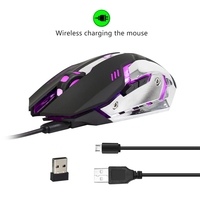 2 4G Rechargeable Wireless Mouse 6 Buttons 2400DP Optical Gaming Mouse Computer Mouse Backlight LED Game