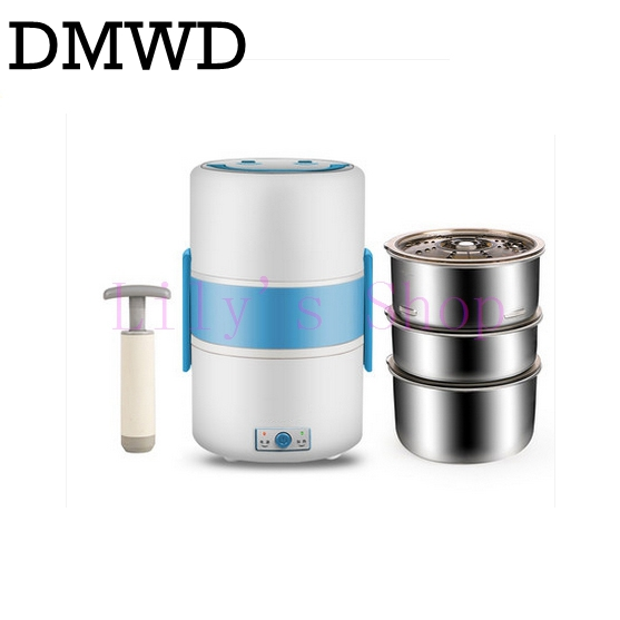 DMWD Electric lunch boxes three-layer vacuum insulation heating lunchbox plugged in Food Container Electric Rice Cooker EU 1.8L