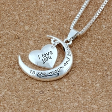 2pcs New Antique silver & Silver Plated Crescent Moon Heart Charm I Love You to the And Back Necklace T-24