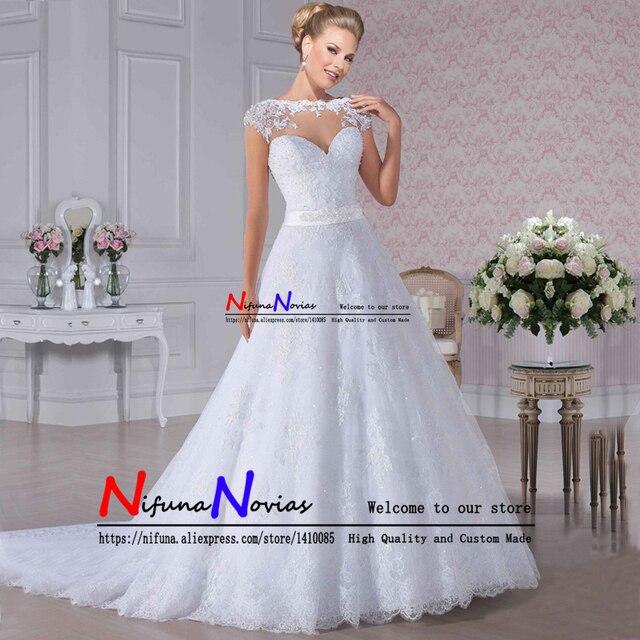 46ff91fa3 Ver a través de vestido De novia de boda Sexy vestido De encaje de la boda