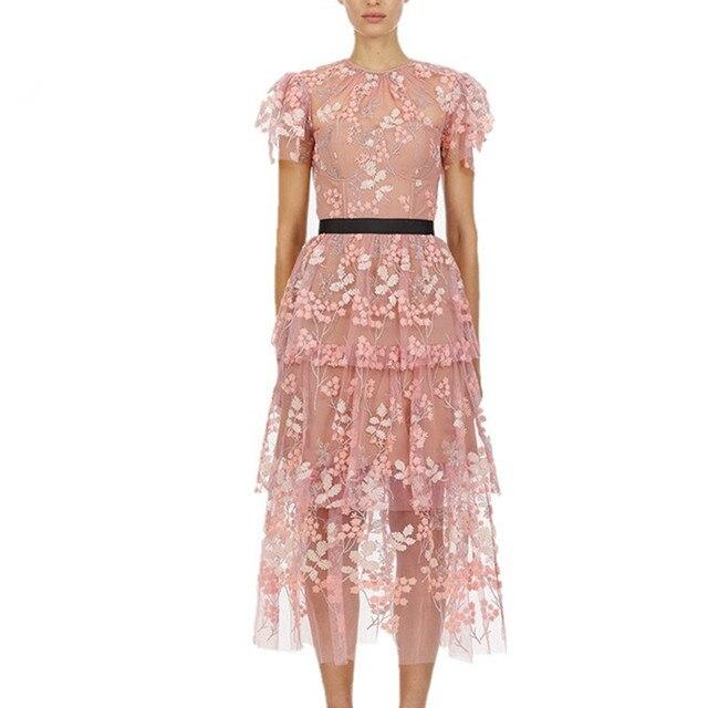 Elegant Ruffles Short Sleeve Pink Mesh Floral Embroidery Long Party Dress 2019 Summer Women High Quality Self Portrait Dress