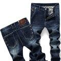 Calças de Brim dos homens novos de Moda Calças Apertadas Pés Elasticidade Confortável Masculino Magro Marca de Jeans Azul Tamanho 27-38