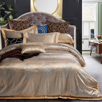 4 pz oro Grigio Jacquard set di biancheria da letto matrimoniale ...