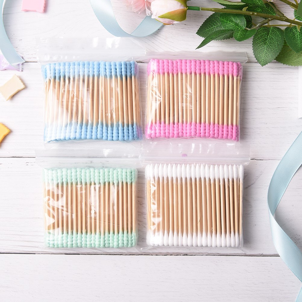 100PCs Double Head Ended Clean Cotton Buds Ear Clean Tools For Children Adult Pink Green Cosmetic Cotton Swab Stick