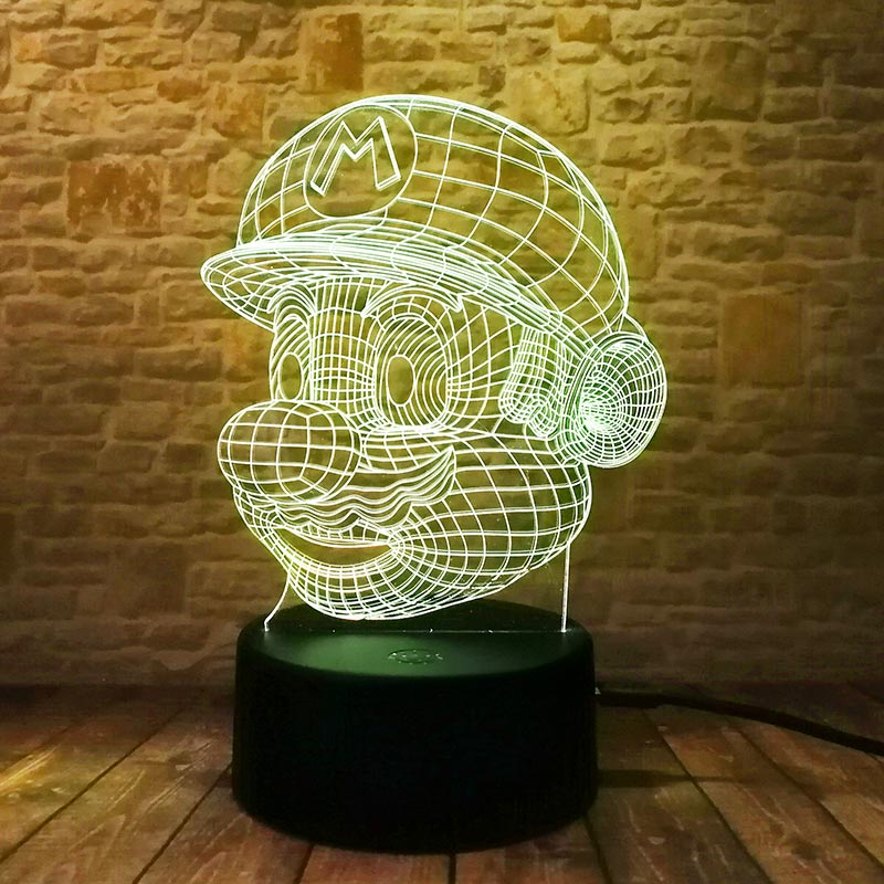 Super Mario Bross Model 3D Illusion Led Lamp Colorful Touch light Flashing Nightlight Fi ...