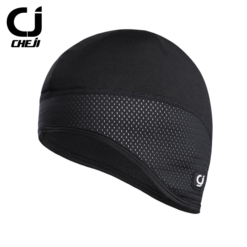 CHEJI Thermal Fleece Cycling Cap Waterproof Windbreak Cycling Caps Outdoor Climbing Running Cycling Keep Warm Hood Hat in Cycling Caps from Sports Entertainment