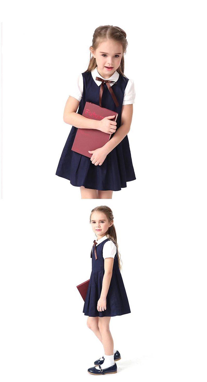 ffa35a28aa 2017 Summer Blue Cotton Short Sleeve Pleated Kids School Uniform Dress For  Girls 4 6 8 10 12 14 Years Teenage Children Clothing