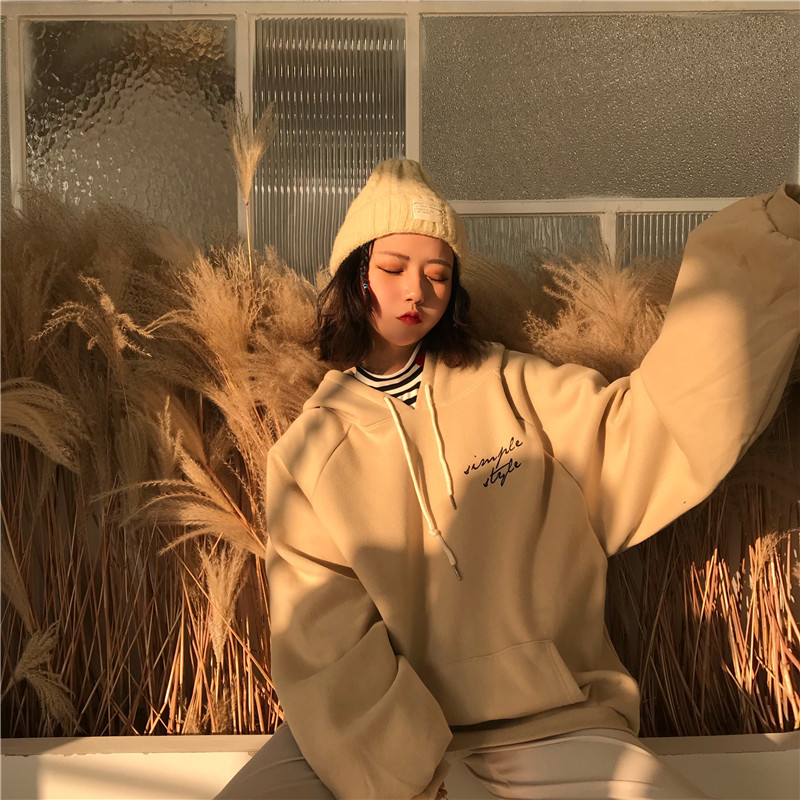 HTB1SRAqMrrpK1RjSZTEq6AWAVXal Hoodies Women Thicker Plus Velvet Warm Soft Letter Printed Simple All-match Pockets Leisure Pullovers Womens Trendy Sweatshirts