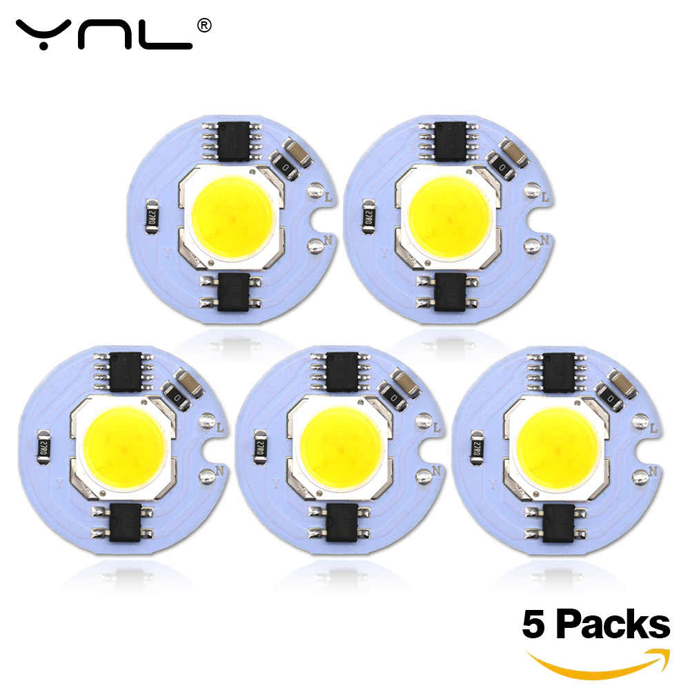 5Pcs Lampada LED COB Chip 220V 9W 7W 5W 3W Smart IC For DIY LED Light Bulb Downlight Spotlight No Need Power Supply