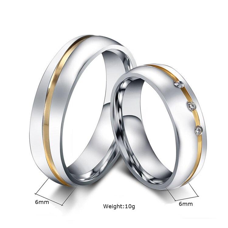 8a5ed6e05563 Conjuntos de anillos de boda de acero inoxidable de alianza de Color dorado  para él y sus anillos de boda anel ouro en Anillos de Joyería y accesorios  en ...