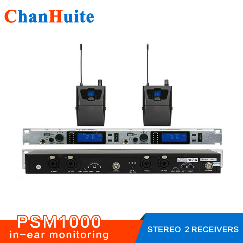 Stereo in ear monitor system wireless, PSM1000 style ear monitors and receiver for stage Monitoring Church UHF PLL 96 frequency stereo system