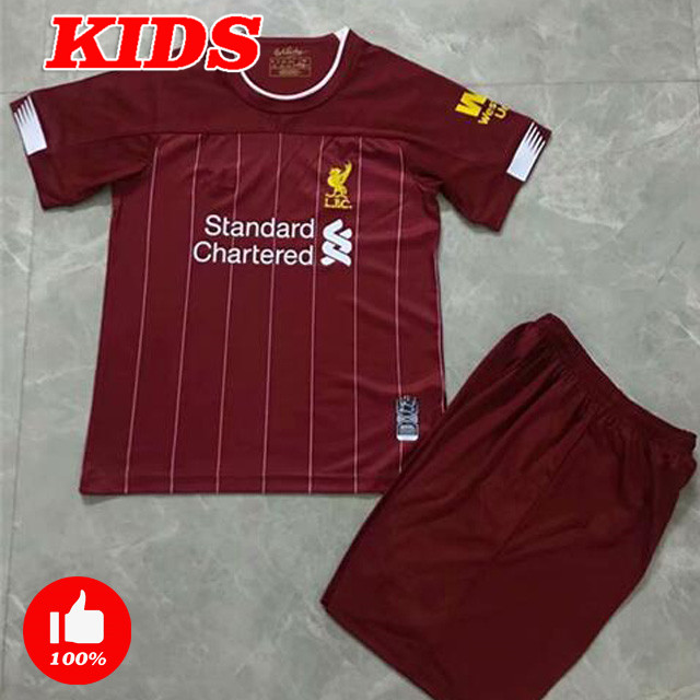 sale retailer 3b1a3 58eac boy liverpool shirts top quality home red tops child liverpool away black  man Leisure tracksuit ...