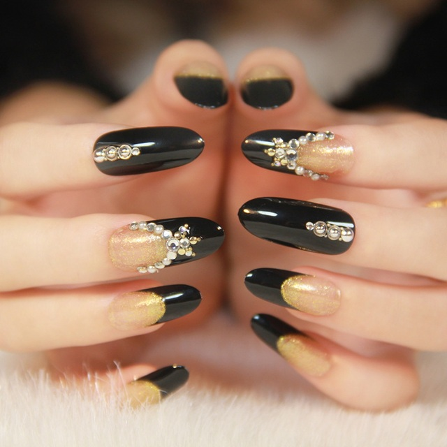 2014 Hot Sale Rushed Fake Nails Round Toe Long Design Gold Black Bride Nail Art False