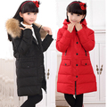 Children's winter  Korean girls girls down  jacket and long sections