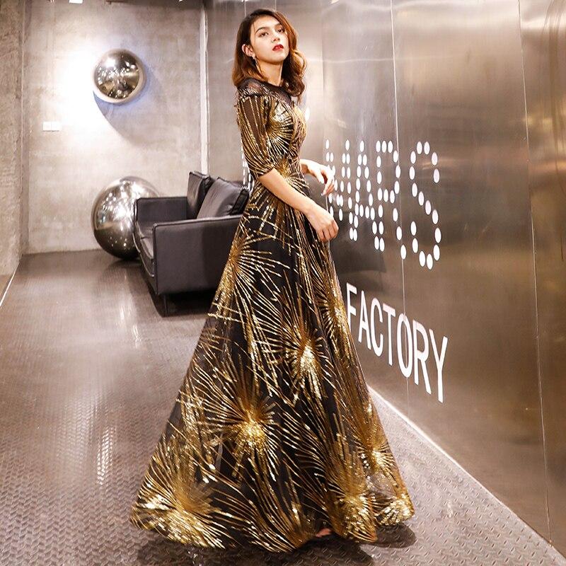 Robe De soirée Robe De soirée 2019 or paillettes cristal o-cou noir étage-longueur robes De dîner LF405 - 6