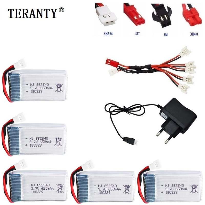 40C 3.7V 650mAh Li-PO <font><b>Battery</b></font> With 5Pcs Usb Charger Cable For X5 X5c X5sc X5sw 2.4g Rc Quadcopter 3.7v 650mah Lipo <font><b>Battery</b></font> Group image