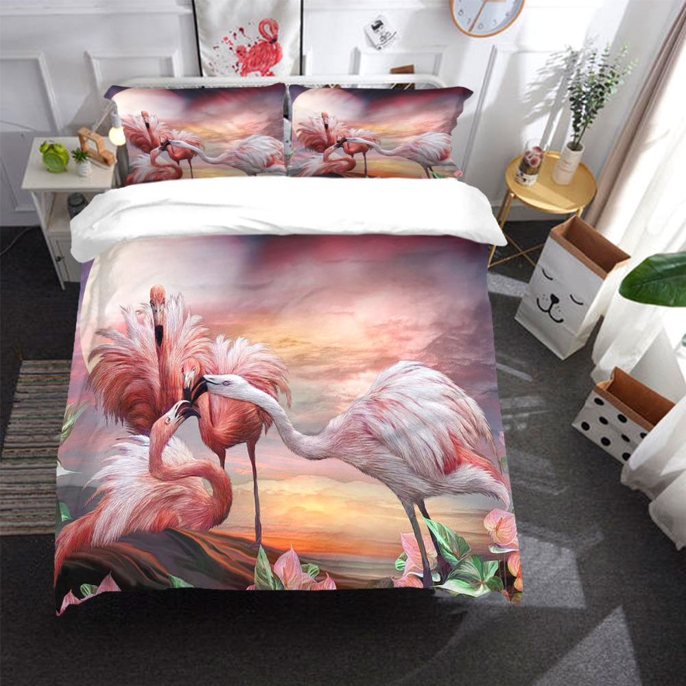 Flamingo Bedding Set bird Duvet Cover With Pillowcases Twin Full Queen King Size Bedclothes 3pcs home textileFlamingo Bedding Set bird Duvet Cover With Pillowcases Twin Full Queen King Size Bedclothes 3pcs home textile