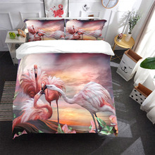 Flamingo Bedding Set bird Duvet Cover With Pillowcases Twin Full Queen King Size Bedclothes 3pcs home textile