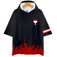 Naruto clothes Uchiha Sasuke cos hot short sleeved hooded T shirt unisex couple love parent child role playing cosplay