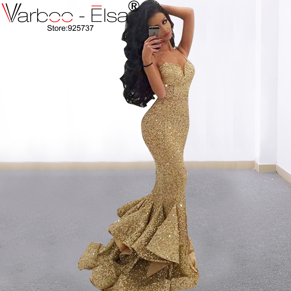 VARBOO_ELSA gold Sequined long   Prom     Dresses   2019 Silver Spaghetti Strap sexy Party Gowns african evening   Dress   Vestidos de festa