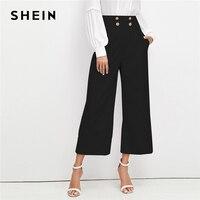 SHEIN Black Office Lady Solid Double Breasted Embellished Slant Pocket Wide Leg Pants Autumn Elegant Workwear Women Trousers