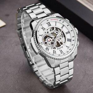 Image 5 - Luxury Top Silver Automatic Mechanical Men Watch Skeleton Steel Bracelet Self wind Wristwatch Male Blue Sliver Black Clock Reloj